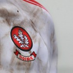 18/02/2018: Derry jersey after a mud filled afternoon against Offaly during Sundays NFL match at Celtic Park. Picture Margaret McLaughlin